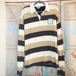 Timberland 100% Cotten striped long sleeve polo